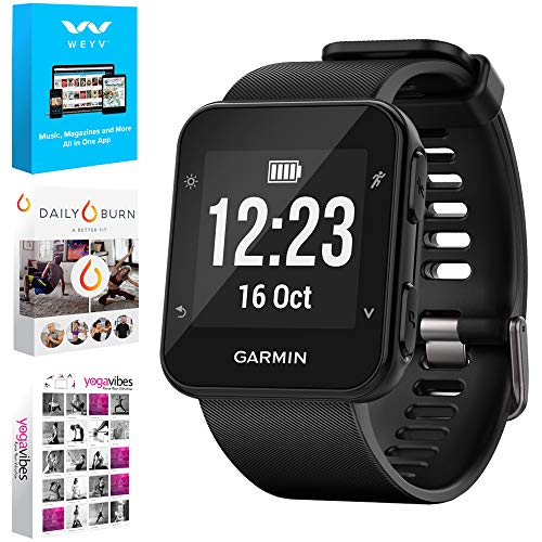 Garmin Forerunner 35 GPS Running Watch & Activity Tracker - Black (010-01689-00) w/Tech Smart USA Fitness & Wellness Suite Includes, Altair Weyv, Yoga Vibes and Daily Burn Digital Downloads