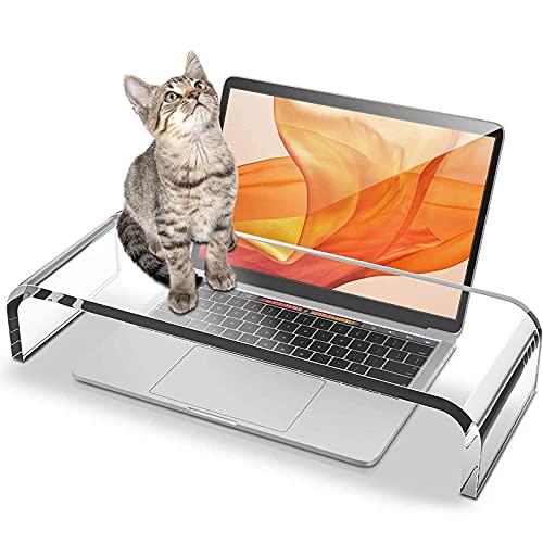 YWYW Soporte y Cubierta de acrílico para computadora portátil para Anti-Gatos a Prueba de Polvo, Soporte y Elevador Transparente para computadora portátil para Mejorar la Postura de Manera efecti