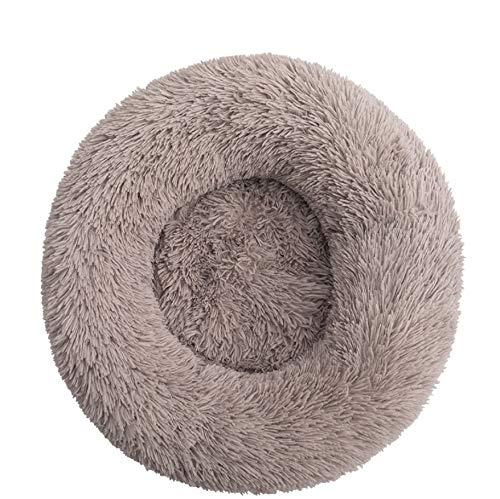 Haustierbett Hundebett Katzenbett Rund Weich und Weich für Haustiere/Welpen/Haustier/Katzenbett in Doughnut-Form (70cm Beigebraun)