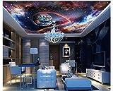 Mznm Photo Wallpaper 3D Ceiling Murals Wallpaper Space Star Milky Way 3D CeilingMural Wallpaper Livingroom Decoration-200X140Cm