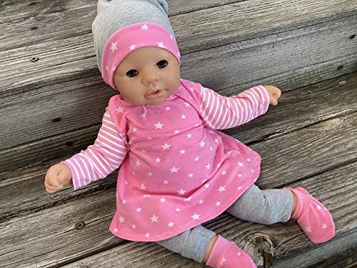 Puppenkleidung handmade passend für Puppen Gr. 36 - 38 cm oder Gr. 46 - 48 cm Kleidung + Schuhe STERNE Sternchen rosa pink NEU