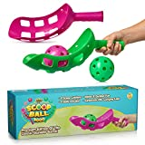 YoYa Toys Scoop Ball Game Outdoor Toy for Kids and Adults - Jai Alai Thrower with 2 Balls - PVC Carry Bag - Toss and Catch Set Game