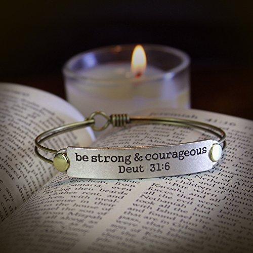 Sweet Romance Engraved Bible Verse Inspirational Faith Religious Bar Bangle Bracelets, 12 Messages Available