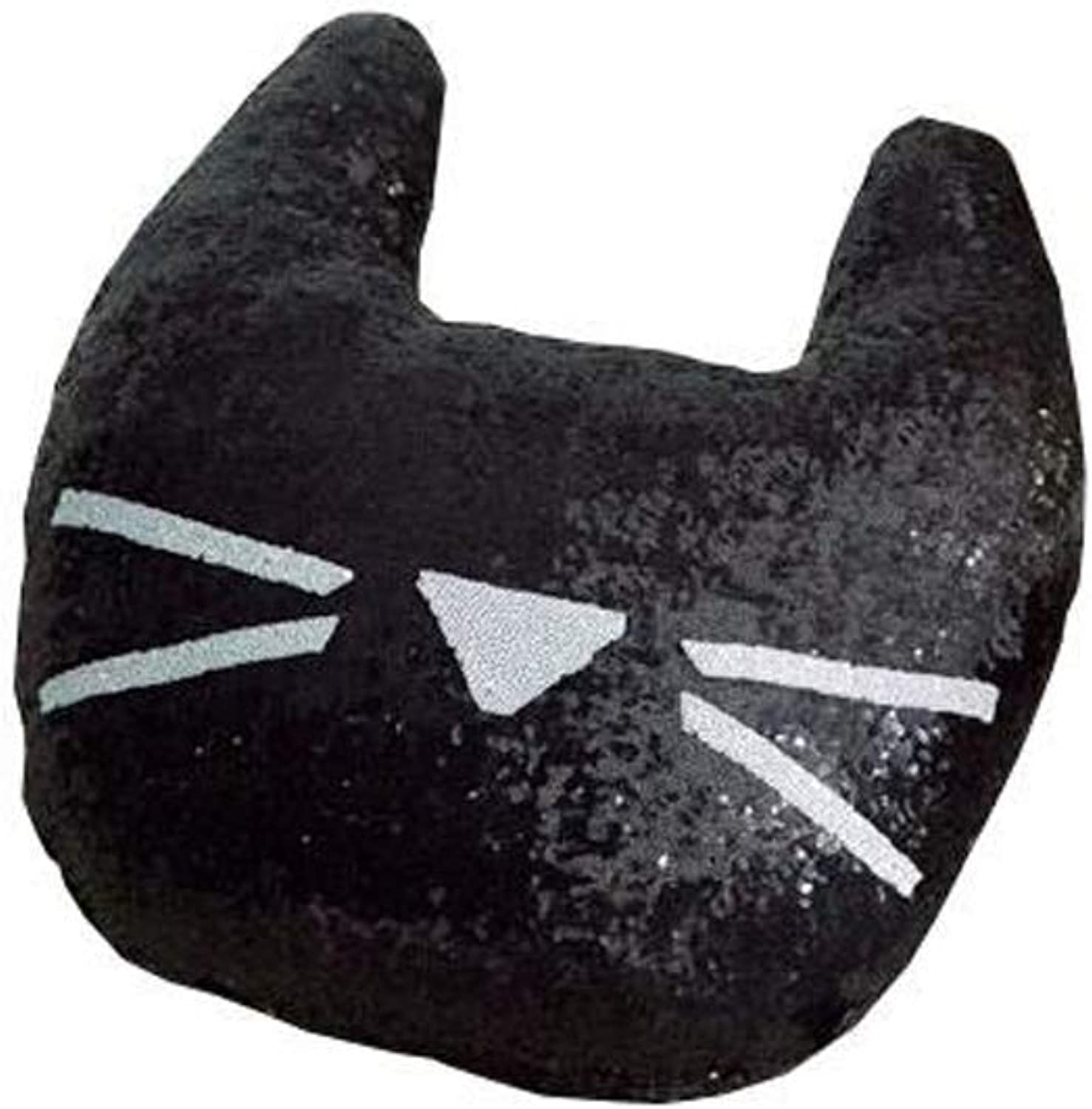 Pillow Embroidery New Sequins Pillow Animal Model Cat Cat Cushion Backrest Gifts QYSZYG (color   Black)