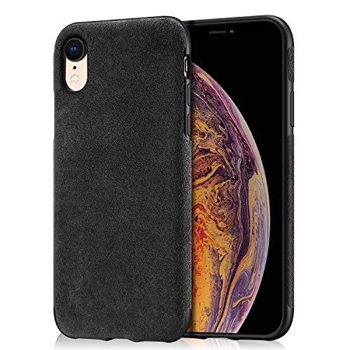Arrivly Alcantara Cover Für iPhone XR Schwarz Hülle Wildleder Hülle Handyhülle Rehleder Mikrofaser Schutzhülle (iPhone XR)