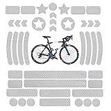 Pegatinas Reflectantes para Bicicletas, Reflectores Adhesivos, Reflector de Bicicleta Impermeable, Cinta de Seguridad Reflectante para Cochecitos, Bicicletas, Cascos de Motocicleta, 42Pcs