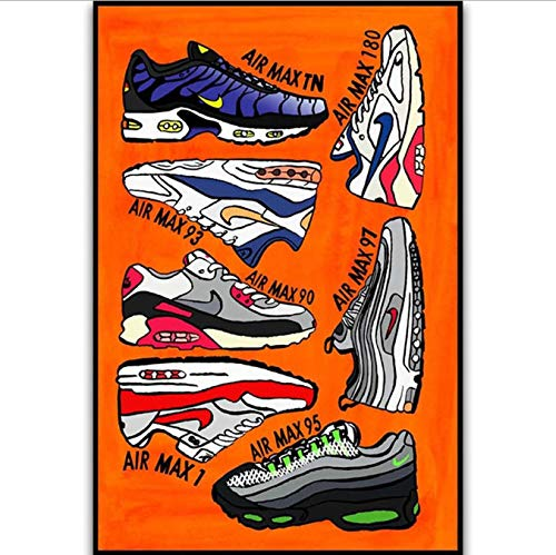 RUIYAN Leinwandbilder Air Max Serie Schuhe Sneaker Mode Geschichte Wandkunst Malerei Druck Auf Seide Leinwand Poster Dekoration 40X60 cm Dt33P Rahmenlose