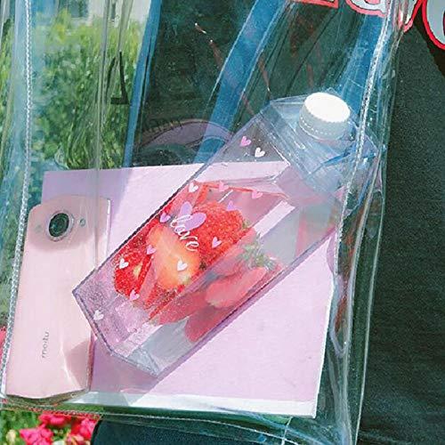Milchkarton Wasserflasche, 500 ml Milchbox Plastiksaftflasche Tragbare wiederverwendbare Milchflaschen Limonadensaftglas Getränkebehälter No BPA