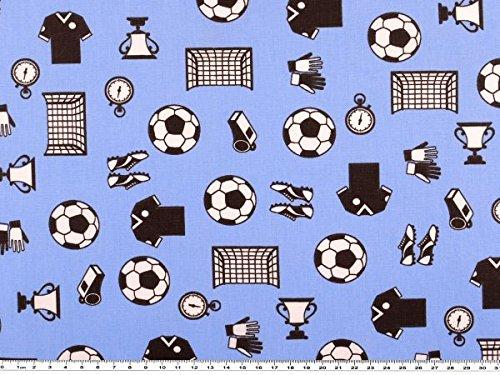 ab 1m: Fußballstoff, Fußballmotive,Baumwollstoff, hellblau, 140cm breit