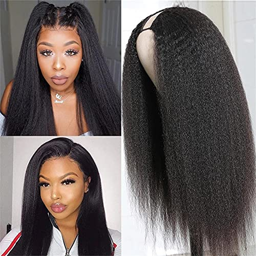 AliPearl Hair U Part Wigs Human Hair Kinky Straight Wig, Brazilian Virgin Hair Glueless Full Head Clip In Half Wig 2x4 U Shape Wigs Yaki Straight Human Hair Wigs for Black Women(18inch Kinky Straight)