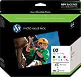 HP 02 | 6 Ink Cartridges with Photo Paper | Black, Cyan, Magenta, Yellow, Light Cyan, Light Magenta | Q7964AN