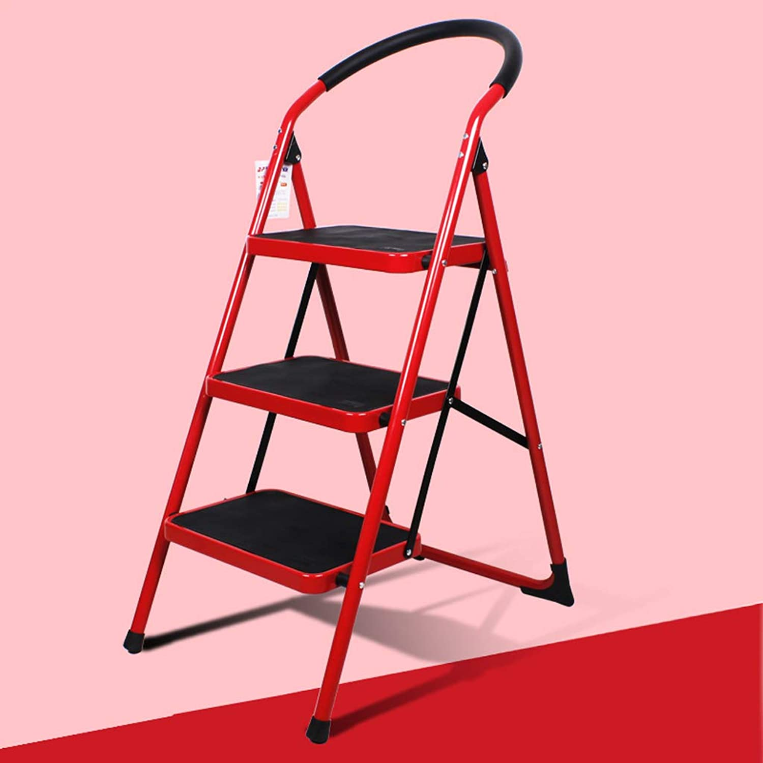 HBJP Step Stool Home Folding Ladder Ladder Thickening Climbing Ladder Three-step Small Ladder Stool Indoor Multi-function Staircase Staircase stool (color   Red)
