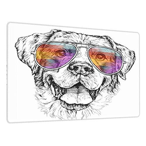 Alfombrilla de ratón para Juegos,Hipster de Perro Pastor con Gafas de Sol de Aviador Animal doméstico,Escritura de Escritorio Impermeable de Goma Antideslizante para Oficina y hogar 800×300×3mm