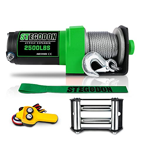 STEGODON New 2500lb. Load Capacity Winch 12V Steel Cable Winch Waterproof IP67 Electric Winch with Wired Remote Control,4-Way Roller Fairlead,Strap and Hook for ATV/UTV/Boat (Green)