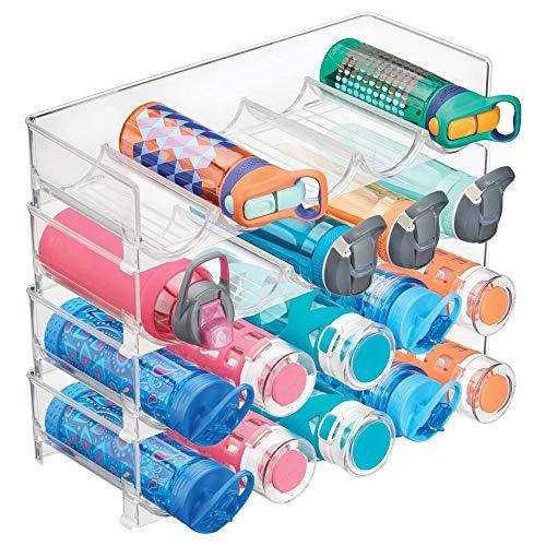 mDesign Juego de 4 botelleros apilables de diseño – Práctico estante para vino en plástico para hasta 5 botellas – Manejable mueble vinoteca para botellas de vino y otras bebidas – transparente