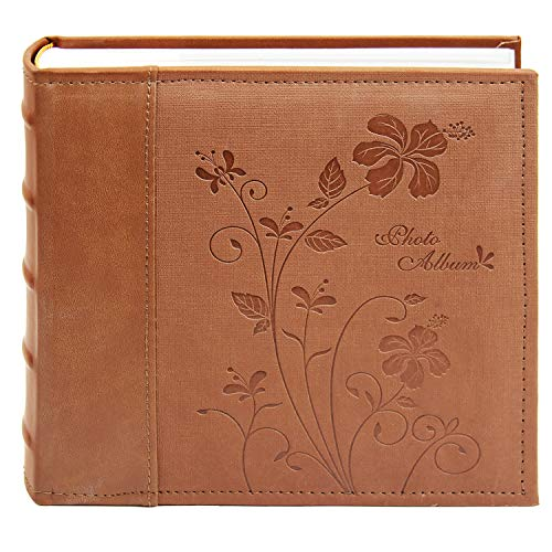 """Golden State Art Photo Album, Holds 200 4""""x6"""" Pictures, 2 Per Pages, Faux Leather Vintage Inspired Cover, P52028-6 Brown"""