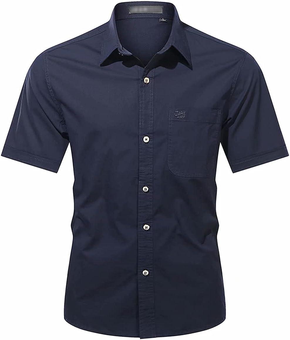 Mens Short Sleeve Button Down Casual Cotton Shirt
