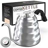 Gooseneck Pour Over Kettle - Stainless Steel Goose Neck Tea Kettle with Thermometer & Triple Layered Base Anti-Rust - Precision-Flow Spout for Coffee and Tea- for all Stove tops 40 oz (1.2L)