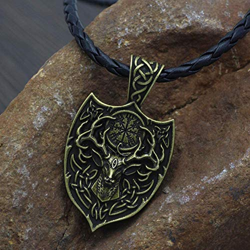Gifts for Men Vikings Necklace, Unisex Nordic Double Side Deer Pendant Amulet with Vegvisir Rune, Vikings Celtic Retro Pagan Gift Jewelry