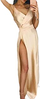 Macondoo Women's V Neck Split Sexy Prom Tank Spaghetti Strap Long Dresses