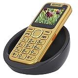 Teléfono móvil con botón para personas mayores,teléfono móvil con botones grandes para personas mayores,teléfono móvil con doble SIM 3G de 2.0 pulgadas y base de carga,gran volumen,linterna LED(oro)