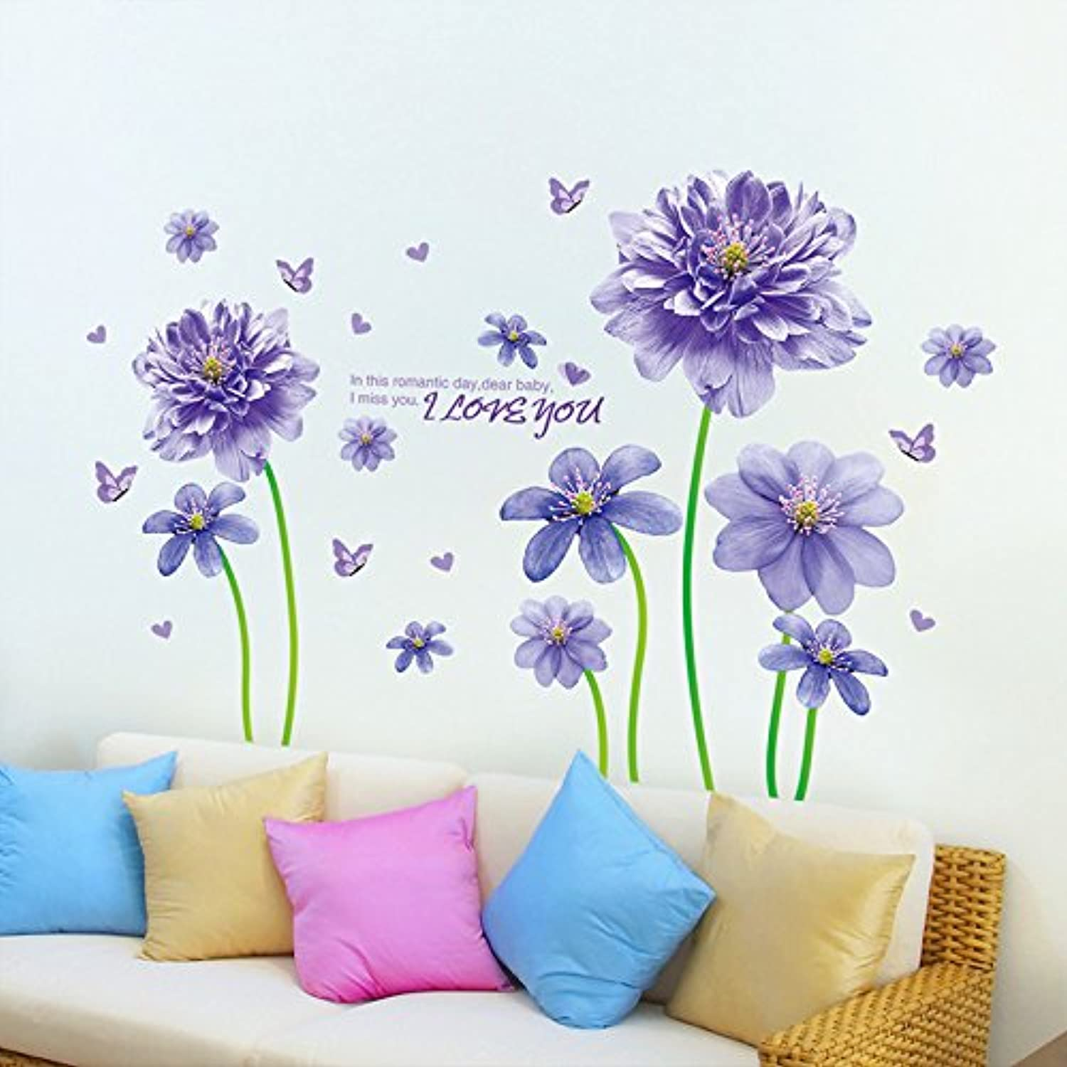 Znzbzt Purple Goblin Flower Posters Wall Sticker Creative Modern Wall Decor Wall Sticker