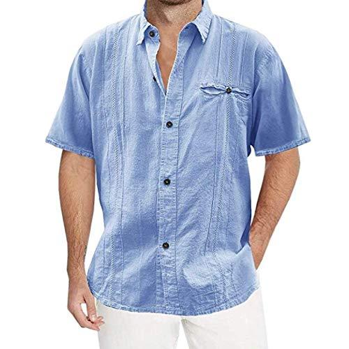 Camisa de Manga Corta de Color sólido con Empalme para Hombre, Informal, Transpirable, Comodidad, Solapa Simple, Tendencia, Camisa Relajada con Botones 3XL