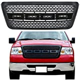 Modifying Raptor Style Grille Mesh Grill, Compatible with Ford F150 F-150 2004-2008, With No F and R - Gloss Black