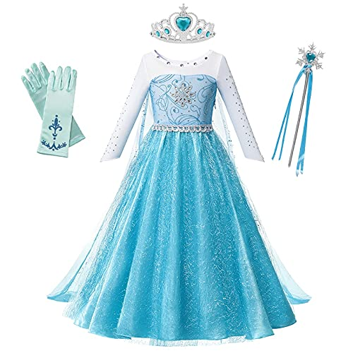 OPYTR Bottles for Lotion Vestido de niñas Princesa Cumpleaños Cosplay Malla de Malla Vestidos de Cristal Halloween Vestido de Navidad Disfraz Chal ( Color : Elsa Dress 2 , Size : 3T )