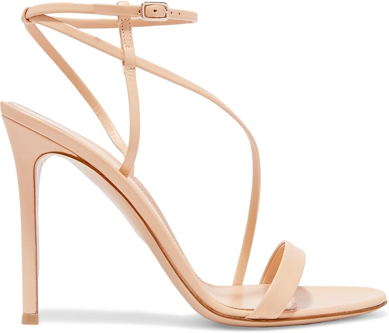 TDA Women's Sexy Cross Strap Patent Leather Stiletto Sandals