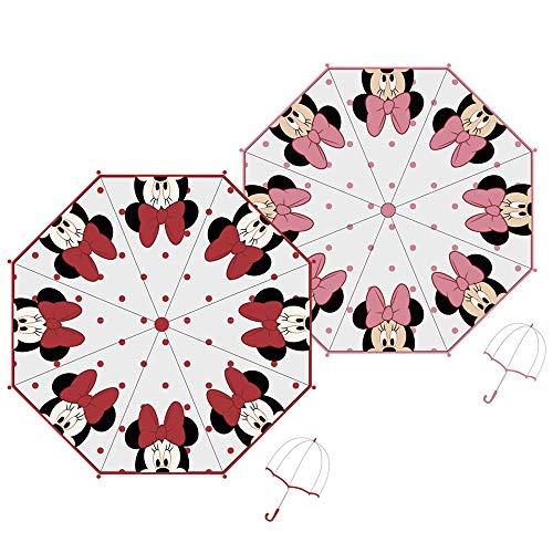 ARDITEX Parapluie Cloche Pour Enfant Sous Licence Minnie Mouse En Eva Transparent 48Cm 2 Assortis Paraguas clásico, 70 cm, Rosa (Rose Ou Rouge)
