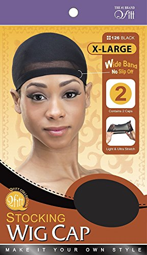 QFitt Stocking Wig Cap In Sheer Black Large Size. 2pcs