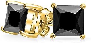f9cff56a8 .75CT Black Square Cubic Zirconia Princess Cut AAA CZ Stud Earrings For Men  14K Gold .