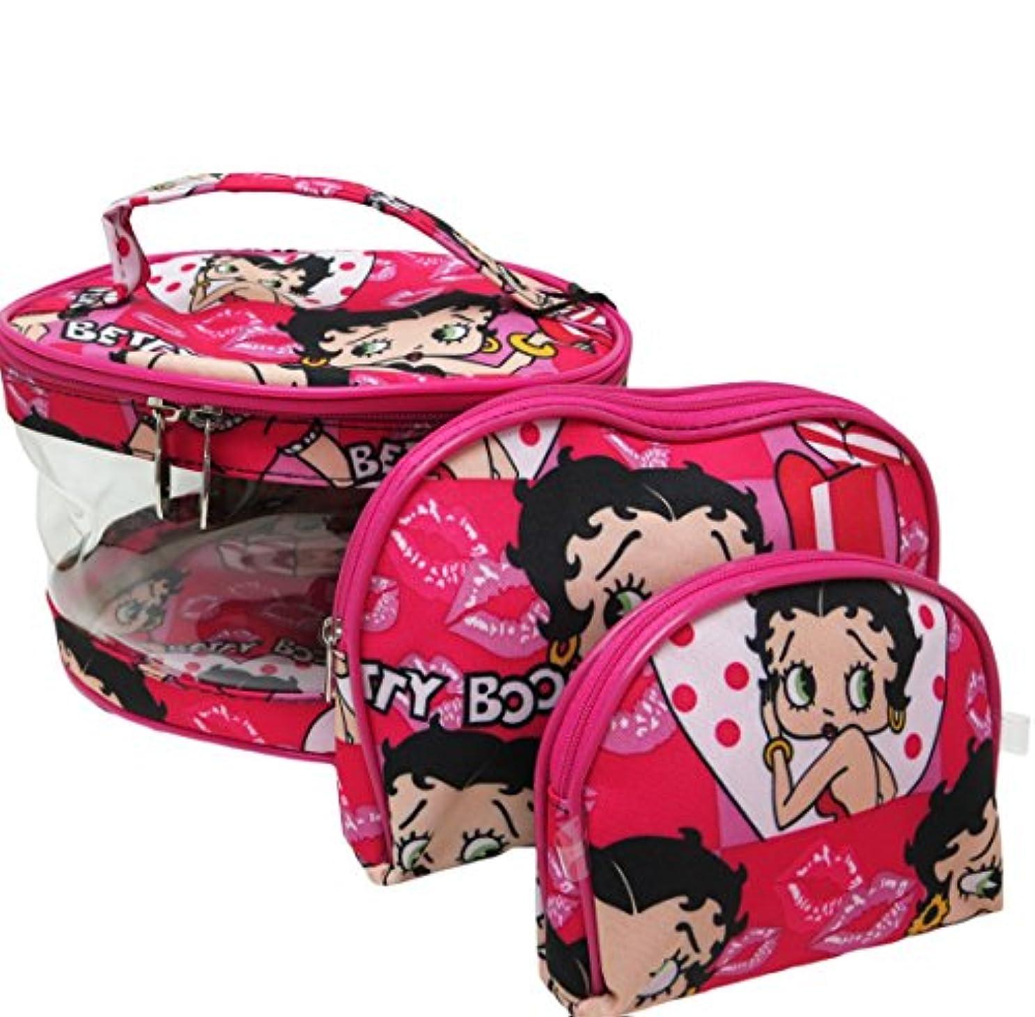 Betty Boop ベティーブープ コスメティックバッグ3Pセット (ピンク)