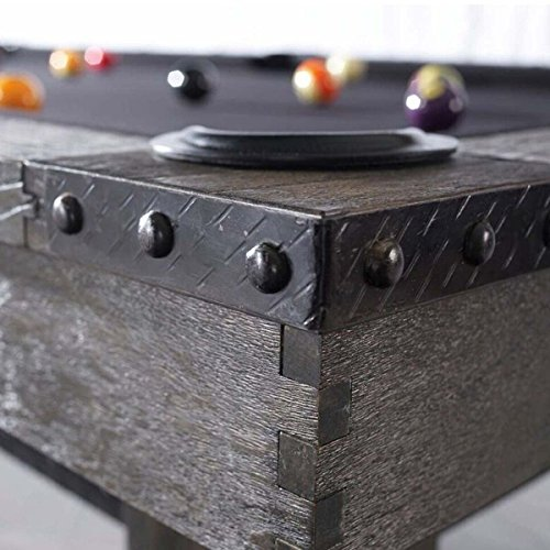 Plank & Hide Co Morse Pool Table in a Grey Finish-Slate Billiards Table-100% Solid Hardwood Construction-Includes Choice of Color Felt and Upgraded Accessories-Installation Included (8')