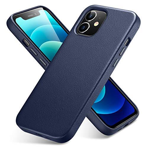 ESR Coque Compatible avec iPhone 12/12 Pro (2020), Étui en Vrai Cuir Premium [Entièrement en Cuir Slim], [Fonctionne avec Chargeur à Induction] Coque/Housse de Protection [Rayure Résistible] –Bleu.
