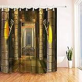 N / A Cortina de Ducha de Templo Egipcio Antiguo, Tela Duradera, Accesorios de baño creativos, Cortina de Ducha Decorativa a Prueba de Agua y Moho para el hogar A126 90x180cm