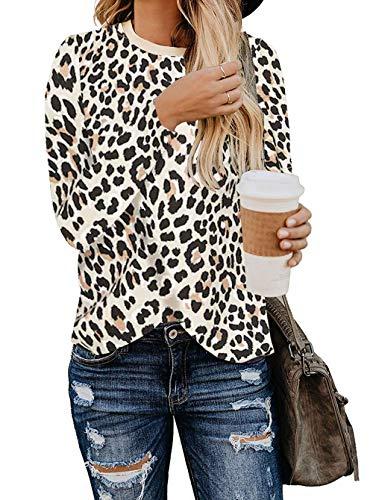 BTFBM Women's Leopard Print Long Sleeve Crew Neck Fit Casual Sweatshirt Pullover Tops Shirts