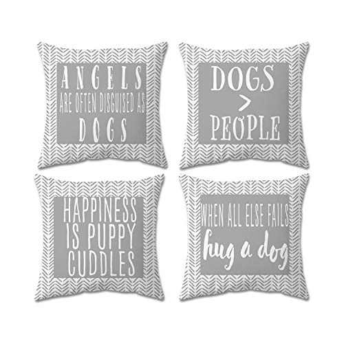 Cappy&Luna Creations Dog Decor Dog Pillow 100% Cotton 18x18 Double-Sided Pillow Covers Set of 2, Gray