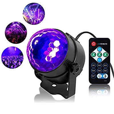 Litake UV Black Light 6W LED Disco Ball Party Lights Strobe Light Disco Lights, Sound Activated with Remote Control Dj Lights Stage Light for Festival Bar Club Party Wedding Show Home
