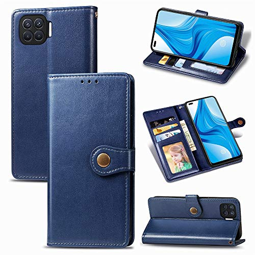 For OPPO F17 Pro, Round Magnetic Rivet Pattern Card Slot Phone Case, PU Leather Wallet Case With Card Holders Red 0109-T(Color:BLUE)