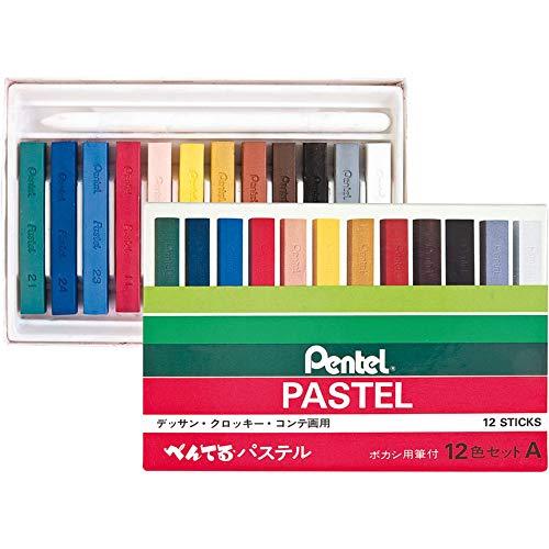Giz Pastel Seco Profissional, Pentel, GA-12AD, 12 Cores
