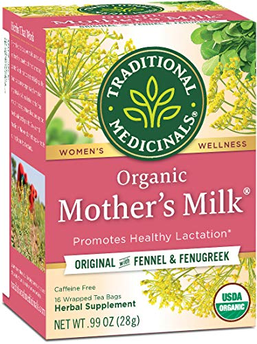 Traditional Medicinals Organic Mother's Milk Women's Tea (Pack of 1), Promotes Healthy Lactation for Breastfeeding Moms, 16 Tea Bags