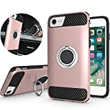NiuBox iPhone SE 2020 Case,iPhone 6S Case,iPhone 7 Case,iPhone 8 Case, 360 Degree Rotating Metal Ring Holder Kickstand Shock Absorption Protective Phone Case for iPhone SE 2nd Generation-Rose Gold