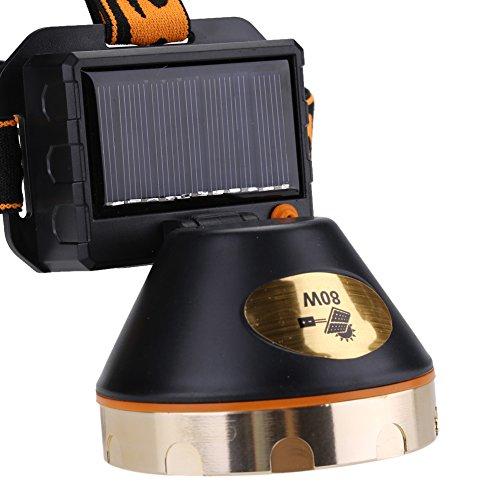 Uxsiya Linterna Frontal Solar con Diadema elástica Solar Recargable para Senderismo Ciclismo