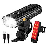 Te-Rich Bike Lights Set Rechargeable, Super Bright Bicycle Lights Front and Rear, USB