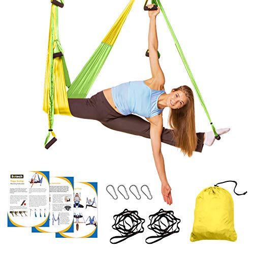Sotech Aerial Yoga Swing Set, Yoga Hammock, Anti-Gravity Trapeze Sling Kit, Inversion Swing Exercises with 2 Extension Daisy Straps and 4 Carabiners - for Beginners and Kids, Yellow/Green