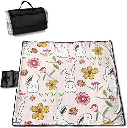 N/A Große wasserdichte Picknickdecke für den Außenbereich, Kaninchen, Hase, Rosa, Blumen, Ostern, Sanddicht, Strandmatte, Tragetasche für Camping, Wandern, Gras, Reisen