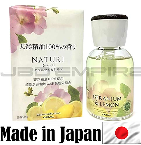 JBD Empire Carall Naturi Luxury Perfume Glass Bottle Air Freshener - Made in Japan JDM (Geranium & Lemon 3056)