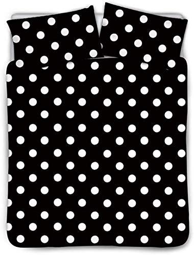HUA JIE 3pcs Black Duvet Cover Set,Retro Style Pattern with White Polka Dots Geometrical Vintage Inspirations, Bedding Set with 2 Pillow Shams